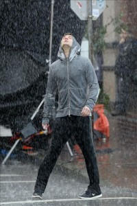 Jamie Dornan gets soaking wet jogging through the rain on 'Fifty Shades of Grey' set