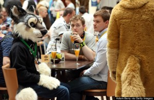 BERLIN, GERMANY - AUGUST 22:  Furry enthusiasts attend the Eurofurence 2014 conference on August 22, 2014 in Berlin, Germany. Furry fandom, a term used in zines as early as 1983 and also known as furrydom, furridom, fur fandom or furdom, refers to a subculture whose followers express an interest in anthropomorphic, or half-human, half-animal, creatures in literature, cartoons, pop culture, or other artistic contexts. Many but not all of the followers of the movement wear furry animal costumes. The earliest citation of anthropomorphic literature regularly cited by furry fans is Aesop's Fables, dating to around 500 BC.  (Photo by Adam Berry/Getty Images)